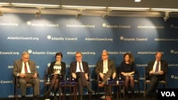 Atlantic Council in Washington, DC holds a panel on Russian disinformaiton that Polygraph.info moderated on March 7, 2018