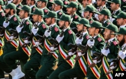IRAN -- In this file photo taken on September 22, 2018 shows members of Iran's Revolutionary Guards Corps (IRGC) marching during the annual military parade which marking the anniversary of the outbreak of the devastating 1980-1988 war with Iraq