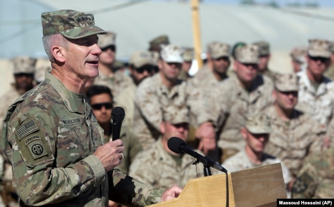 U.S. Army Gen. John Nicholson, the commander of NATO and U.S. forces in Afghanistan, speaks at Shorab military camp, Helmand province, January 15, 2018.