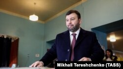 UKRAINE -- Acting leader of separatist Donetsk region Denis Pushilin casts his ballot at a polling station during internationally unrecognized elections in Donetsk, November 11, 2018.