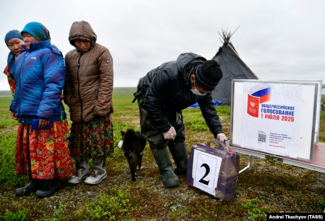 JUNE 11, 2020: Citizens vote in the 2020 Russian constitutional referendum in Priuralsky District of the Yamalo-Nenets Autonomous Area as early voting starts in remote Russian regions.