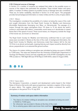 Page 100 of the Dutch Safety Board report on the MH17 crash