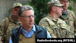 Kurt Volker visits Avdeyevka, a city situated north of Donetsk in eastern Ukraine, July 23, 2017.