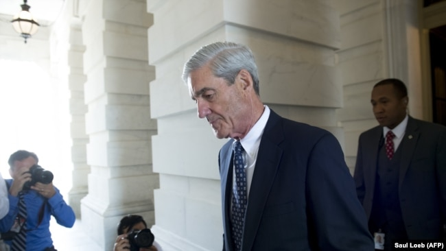 U.S. -- F ormer FBI Director Robert Mueller, special counsel on the Russian investigation, leaves following a meeting with members of the U.S. Senate Judiciary Committee at the US Capitol in Washington, June 21, 2017.
