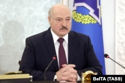 Belarusian President Alexander Lukashenka attends a meeting of the Collective Security Treaty Organization (CSTO), via a video link in Minsk, Belarus on December 2, 2020.