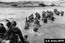 U.S. troops landing as reinforcements during the historic D-Day, June 6, 1944.