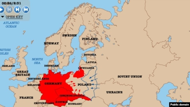 Map of Nazi Germany and Soviet Union attack on Poland, World War II. Watch the video: http://www.nationalarchives.gov.uk/education/worldwar2/theatres-of-war/eastern-europe/1939/index.htm