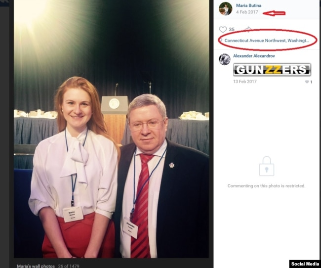 A screenshot of Maria Butina's vKontakte post with a photograph of her next to Alexander Torshin in Washington, DC