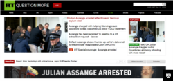 A screenshot from RT.com on the day of Wikileaks founder Julian Assange's arrest in London, England on April 11, 2019.