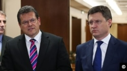 Russian Energy Minister Aleksandr Novak and European Commission's Vice President Maroš Šefčovič