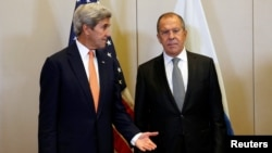 US Secretary of State John Kerry and Russian Foreign Minister Sergei Lavrov meet in Geneva, to discuss the crisis in Syria, September 9, 2016