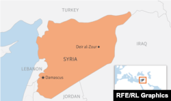 A map indicating the Deir al-Zour region of Syria, where scores of Russian mercenaries were reportedly killed in clashes with U.S. backed forces on February 7, 2018.