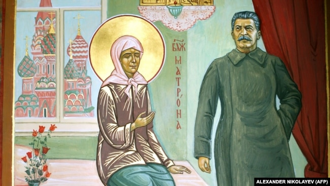 RUSSIA – Picture taken on November 29, 2008 shows a Russian Orthodox icon that includes a depiction of Soviet Dictator Josef Stalin at a St. Olga's Church outside St. Petersburg.