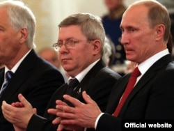 Vladimir Putin and Alexandr Torshin at the state ceremony in the Kremlin, June, 2011