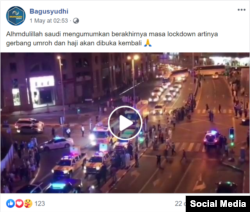 Screenshot of post falsely claiming attached video shows celebrations in Saudi Arabia