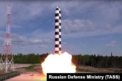 RUSSIA -- Russia's new Sarmat intercontinental ballistic missile blasts off during a test launch from an undisclosed location in Russia, July 19, 2018