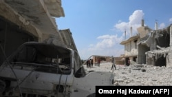SYRIA -- This picture shows the destructions after govenrment forces' bombings in the town of Al Habit on the southern edges of the rebel-held Idlib province, September 9, 2018