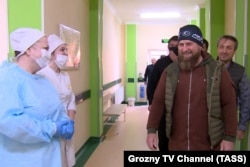 CHECHNYA -- Chechen leader Ramzan Kadyrov visits a hospital for patients with suspected COVID-19 disease in Grozny, April 20, 2020