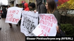 "UKRAINE - A protest against the ""Kremlin's Hostages"" or the hundreds of Ukrainians taken prisoner in Eastern Ukraine and Crimea held in Kyiv on April 11, 2019."