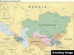 Map of Central Asia. 2015