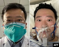 CHINA -- A combo photo shows Chinese coronavirus whistleblowing doctor Li Wenliang whose death was confirmed on February 7 at the Wuhan Central Hospital