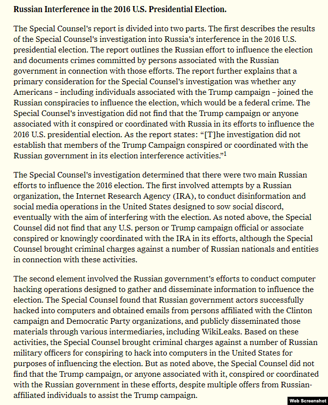 The section from Barr's letter dealing with Russian interference in the election