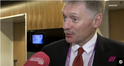 Russian Presidential Spokesman Dmitry Peskov being interviewed by TV Rain in Singapore on November 14, 2018.