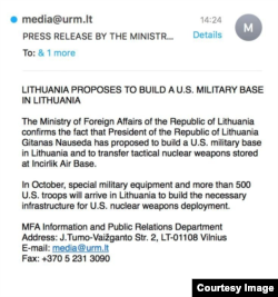 A screenshot of a fake press release by the Lithuanian Foreign Ministry