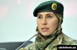"Ukraine – Amina Okueva, a participant in the war on the Donbass, during a press conference on the topic: ""The war in Ukraine: Chechen mirror. Exhibition and Conversation."" Kyiv, November 25, 2015"