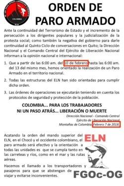 ELN order circulating online in 2018.