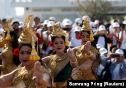 Apsara dancers perform on International Human Rights Day in Phnom Penh, Cambodia, on Dec. 10, 2019.