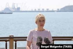 CRIMEA -- Russian Foreign Ministry spokeswoman Maria Zakharova speaks at a press conference on Russia's foreign policy, in Kerch, May 16, 2018