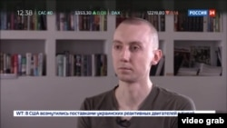 Ukraine - journalist Stanislav Aseyev was abducted by Russia-backed separatists in the Donetsk region - screen grab from Russian TV Rossiya 24