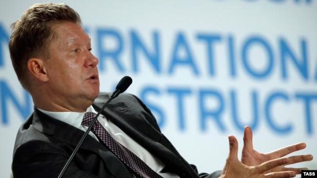 Russia -- Gazprom head Aleksei Miller attends the Petersburg International Gas Forum in St. Petersburg, October 6, 2015
