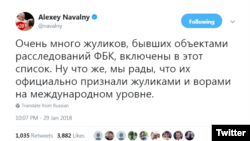 Alexey Navalny reacts to the US 'Oligarchs' List in Twitter on January 30, 2018