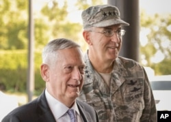 U.S. Secretary of Defense Jim Mattis and John Hyten, the head of Strategic Command, in Bellevue, September 14, 2017. Mattis received briefings to help him with a new U.S. NPR.