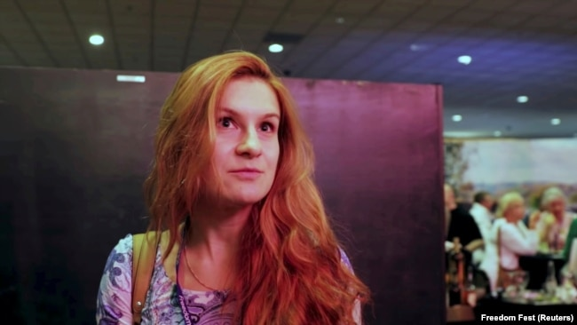 U.S. -- Accused Russian agent Maria Butina speaks to camera at 2015 FreedomFest conference in Las Vegas, Nevada, July 11, 2015
