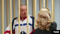 Retired colonel Sergei Skripal is pictured in the Moscow District Court when he was convicted of spying for Britain.