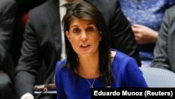U.S. – United States Ambassador to the United Nations Nikki Haley speaks during the emergency United Nations Security Council meeting on Syria at the U.N. headquarters in New York, U.S., April 14, 2018