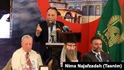 "Iran -- Russian political analyst Aleksandr Dugin speaking in the sixth ""New Horizon"" seminar in Mashhad, on May 12, 2018."