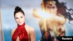 "Cast member Gal Gadot poses at the premiere of ""Wonder Woman"" in Los Angeles, California U.S., May 25, 2017."