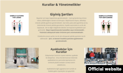 Turkey, Istanbul -- A screenshot of the Suleymaniye mosque's website guidance for visitors.