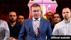 Macedonia - The president of VMRO-DPMNE, Hristijan Mickoski, at a press conference at the party headquarters, September 11, 2018.