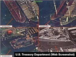An attempt by North Korean ship, the Rye Song Gang 1, to conduct a ship-to-ship transfer, possibly of oil, in an effort to evade sanctions, October 19, 2017. Source of the image: U.S. Treasury Department.