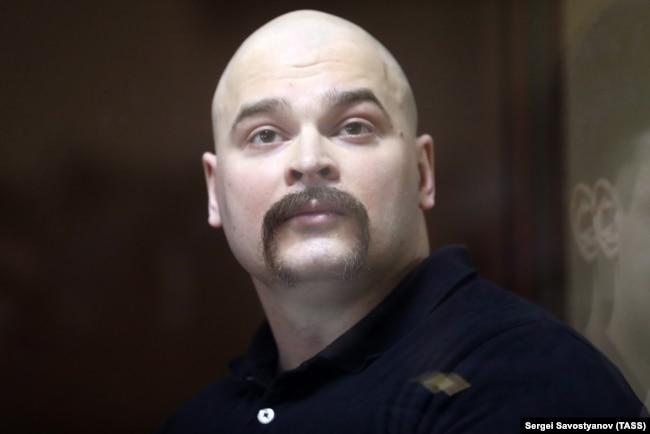 "RUSSIA -- Maksim Martsinkevich, also known as ""Tesak"" (Machete), charged with extremism, attends a court hearing in Moscow court, December 29, 2018"