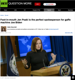"""Screen shot of an RT (Russia Today) editorial from November 30, 2020, """"Foot-in-mouth Jen Psaki is the perfect spokesperson for gaffe machine Joe Biden."""" Format: PNG"""