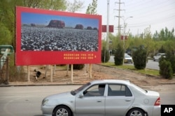 A car drives past a billboard showing machines harvesting cotton outside a Huafu Fashion plant during a government organized trip for foreign journalists in Aksu on April 20, 2021. Mark Schiefelbein/AP