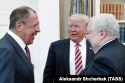 U.S. -- US President Donald Trump (C) meets with Russian Foreign Minister Sergei Lavrov (L) and Russian Ambassador to the United States Sergei Kislyak at the White House in Washington, May 10, 2017.