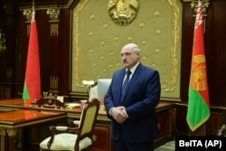 Belarusian President Aleksander Lukashenko attends a meeting with top officials in Minsk, Belarus on January 26, 2021.