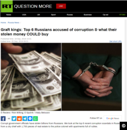 "A screen capture of RT's September 19, 2019 article, ""Graft kings: Top 6 Russians accused of corruption & what their stolen money COULD buy""."